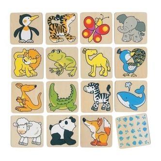 Wooden Memo animals, 32dlg.