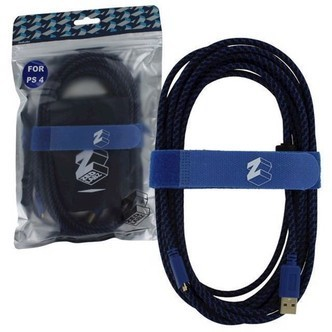 ZedLabz Ultra 5m gold plated braided charging cable for Sony PS4 controller inc velcro tidy  bag - PS4