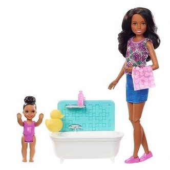Barbie  Skipper Babysitters Doll and Playset  Bathtub 2 FXH06