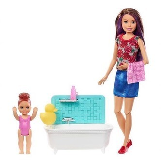 Barbie  Skipper Babysitters Doll and Playset  Bathtub FXH05