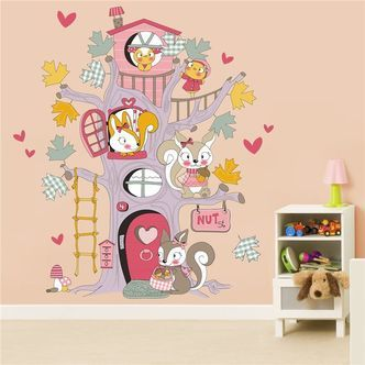 Wall sticker - Squirrel Tree House