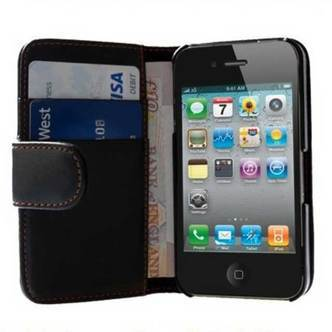 iPhone 4/4S PU lædercover/kortholder - sort