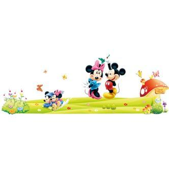 Mickey & Minnie wallsticker. Familien. 150x55cm.