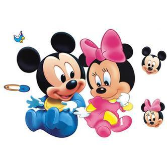 Sød wallsticker med Baby Mickey & Minnie Mouse.