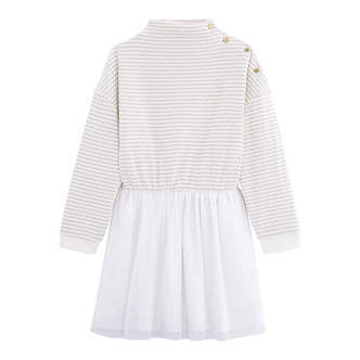 Petit Bateau - Girl Dress LS - White / Gold