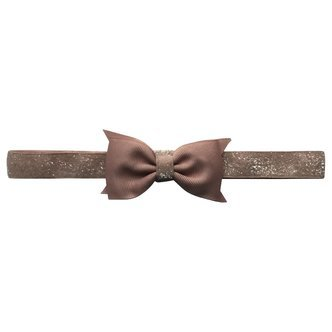Double Bowtie Milledeux bow - elastic hairband - chocolate chip colored glitter