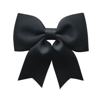 Medium bowtie bow w/ tails - alligator clip - black