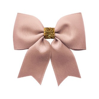Milledeux® Medium bowtie bow w/ tails - alligator clip - antique mauve / gold glitter