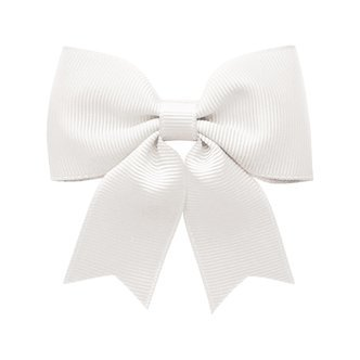 Medium bowtie bow w/ tails - alligator clip - white