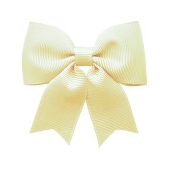 Medium bowtie bow w/ tails - alligator clip - ivory