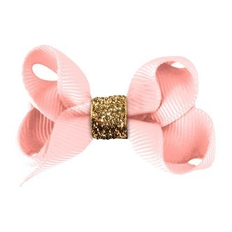 Small Milledeux® boutique bow - alligator clip - powder pink /gold glitter