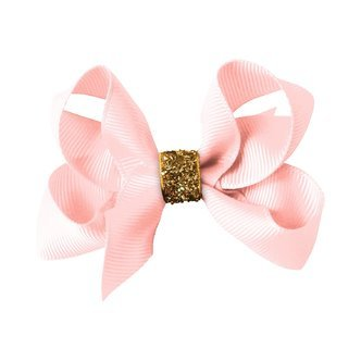 Medium Milledeux® boutique bow - alligator clip - powder pink / gold glitter