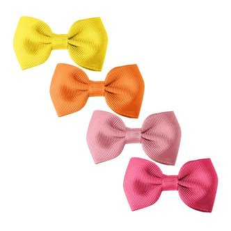 Milledeux® Gift set - 4 Small bowtie bows - alligator clip - yellow/pinks
