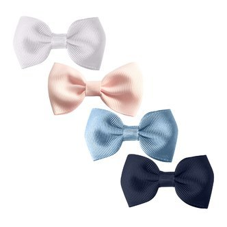 Milledeux®  Gift set - 4 Small bowtie bows - alligator clip - white/pink/blue