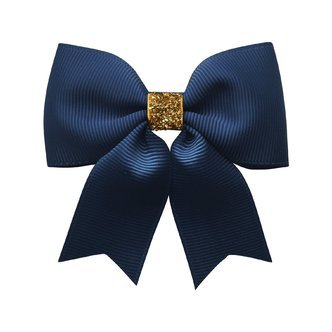 Milledeux® Medium bowtie bow w/ tails - alligator clip - navy / gold glitter