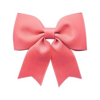 Medium bowtie bow w/ tails - alligator clip - Coral Rose