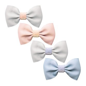 Milledeux® Gift set - 4 Small bowtie bows - alligator clip - Colored Glitter - pink/blue