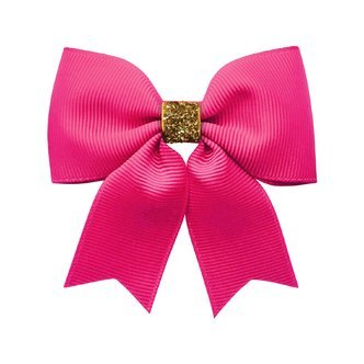 Milledeux® Medium bowtie bow w/ tails - alligator clip - azalea / gold glitter