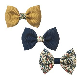 Milledeux® Gift set - 3 mixed bowtie bows w/ Liberty fabric - alligator clip