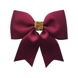Milledeux® Medium bowtie bow w/ tails - alligator clip - wine / gold glitter