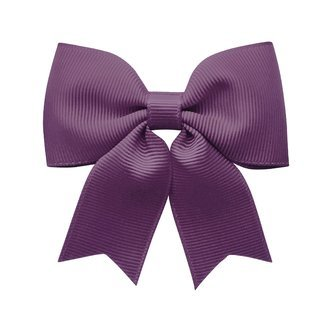 Medium bowtie bow w/ tails - alligator clip - amethyst