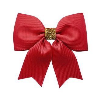Milledeux® Medium bowtie bow w/ tails - alligator clip - scarlet / gold glitter