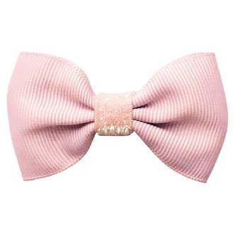 Small bowtie Milledeux bow - alligator clip - powder pink colored glitter