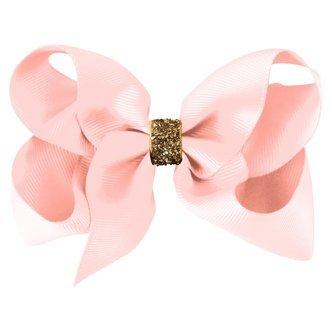 Large Milledeux® boutique bow - alligator clip - powder pink / gold glitter