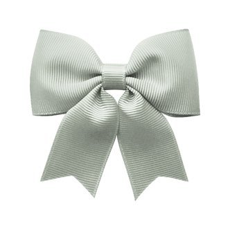 Medium bowtie bow w/ tails - alligator clip - light silver