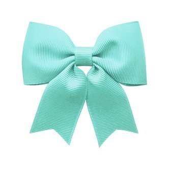 Medium bowtie bow w/ tails - alligator clip - aqua