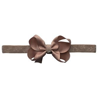 Medium boutique Milledeux bow - elastic hairband - chocolate chip colored glitter