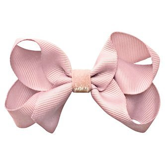 Medium boutique Milledeux bow - alligator clip - powder pink colored glitter