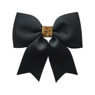 Milledeux® Medium bowtie bow w/ tails - alligator clip - black / gold glitter