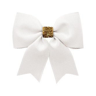 Milledeux® Medium bowtie bow w/ tails - alligator clip - white / gold glitter