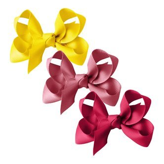 Milledeux® gift set - Grosgrain Collection - 3 Medium boutique bows - yellow/pink