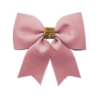 Milledeux® Medium bowtie bow w/ tails - alligator clip - wild rose / gold glitter