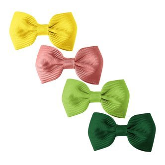 Milledeux® Gift set - 4 Small bowtie bows - alligator clip - yellow/rose/green