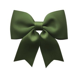 Medium bowtie bow w/ tails - alligator clip - moss