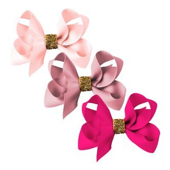Milledeux® gift set - Gold Glitter Collection - 3 Medium boutique bows - pinks