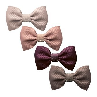 Milledeux®  New York Gift set - 4 Small bowtie bows - alligator clip - Colored Glitter
