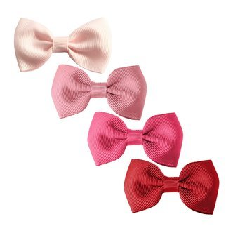 Milledeux®  Gift set - 4 Small bowtie bows - alligator clip - pink/red