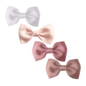 Milledeux®  Gift set - 4 Small bowtie bows - alligator clip - white/pink