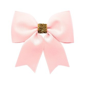 Milledeux® Medium bowtie bow w/ tails - alligator clip - powder pink / gold glitter