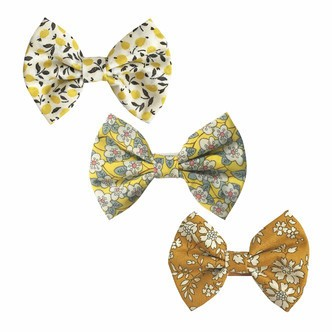 Milledeux® Gift set - 3 Liberty fabric bowtie bows - alligator clip - yellow/dijon