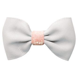 Small bowtie bow - alligator clip - White/ powder pink colored glitter