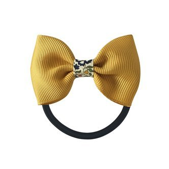 Milledeux® Small bowtie w. Liberty middle - elastic band - Liberty Katie & Millie A / dijon