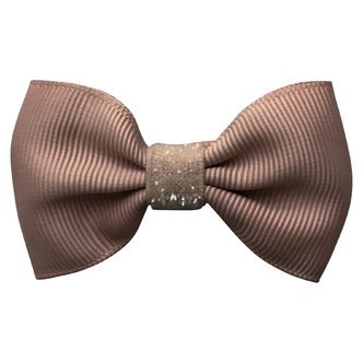 Small bowtie Milledeux bow - alligator clip - chocolate chip colored glitter