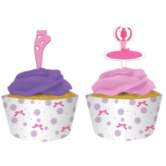 Cupcake wrappers inkl. muffins pynt,  ballerina tema - 12 stk.